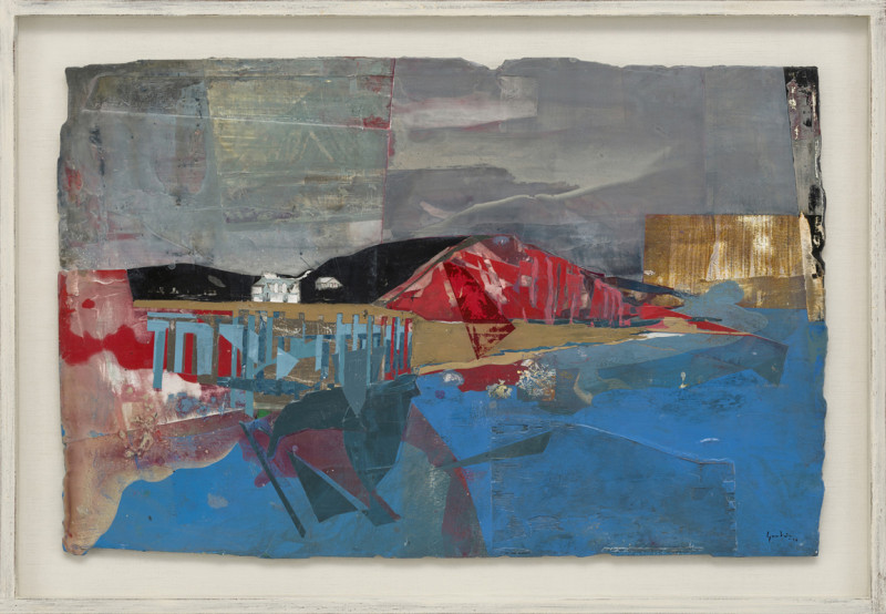 Cat 22 The Pier, West Bay, Dorset signed and dated 2018 titled verso acrylic and jesmonite on poplar panel 55 x 85 cms (21.5 x 33.5 ins) framed: 67 x 98 cms (26.5 x 38.5 ins)