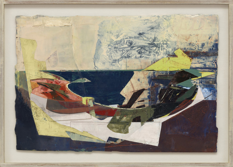 Jeremy Gardiner Cat 19 Worbarrow Bay and Mupe Bay from Flower's Barrow, Dorset signed and dated 2019 titled verso acrylic and jesmonite on poplar panel 60 x 89 cms (23½ x 35 ins) framed: 73 x 102 cms (28½ x 40 ins)