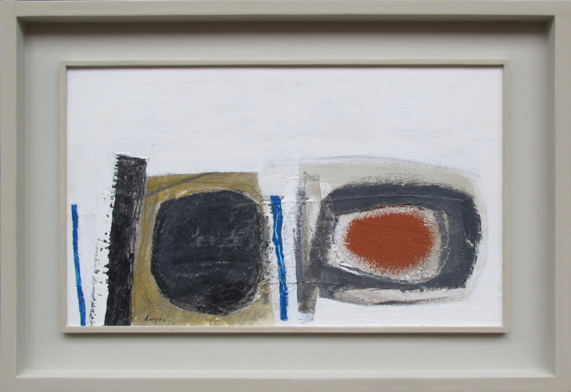 Leigh Davis Born 1976Blue, Grey and Orange, St Mary's signed titled and dated 2019 verso acrylic on linen laid on panel 30 x 50 cms (11¾ x 19¾ ins) framed: 44 x 64 cms (17½ x 25 ins)
