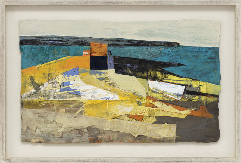 Jeremy Gardiner Cat 12 Quayside and Kiosk, Swanage Bay, Dorset signed and dated 2019 titled verso acrylic and jesmonite on poplar panel 40 x 65 cms (16 x 25½ ins) framed: 53 x 78 cms (21 x 30½ ins)