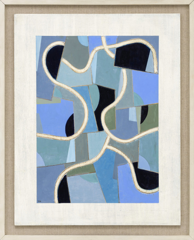 Blue Fluency  signed with artist's initials and dated 2016  titled verso  oil on panel  76 x 60 cms (30 x 23.5 ins)  framed: 86.5 x 70 cms (34 x 27.5 ins)