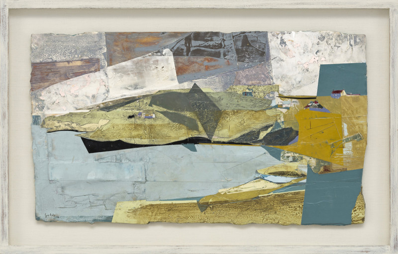 Cat 13 High Tide, Prussia Cove, Cornwall signed and dated 2018 titled verso acrylic and jesmonite on poplar panel 40 x 70 cms (16 x 27.5 ins) framed: 53 x 83 cms (21 x 32.5 ins)