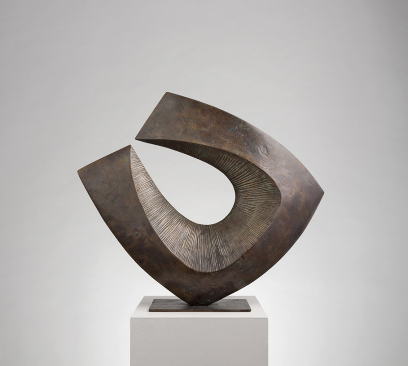 Robert Fogell Large Form with Curved Edge stamped with artist's initials number 1 from an edition of 5 cast in 2017 bronze 51.5 x 59 cms (20¼ x 23¼ ins)