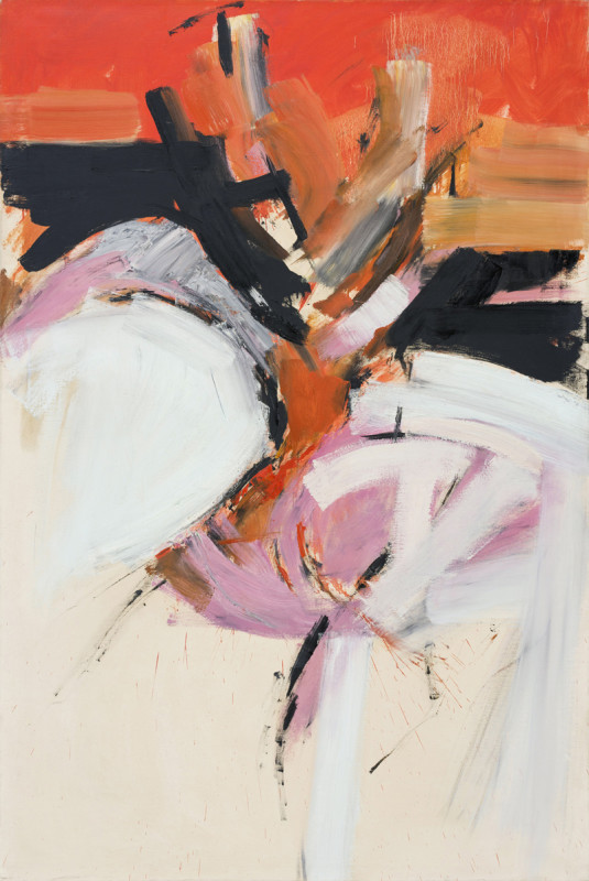 Adrian Heath Painting 1961 signed and dated verso oil on canvas 152.2 x 101.5 cms (60 x 40 ins) framed: 160 x 110.5 cms (63 x 43.5 ins)