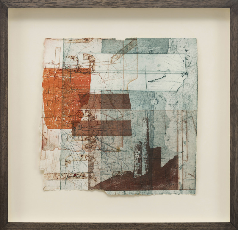 Jeremy Gardiner Born 1957Wheal Coates, Summer, Cornwall signed, titled and dated 2011 unique intaglio monoprint 40 x 40 cms (15¾ x 15¾ ins) framed: 58 x 60 cms (23 x 23½ ins)