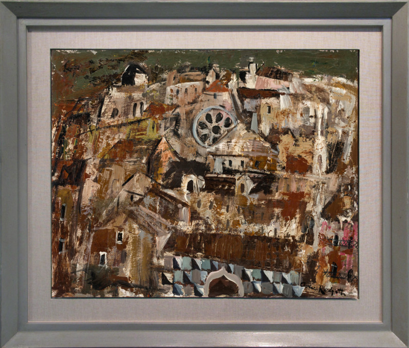 Anne Redpath Cat 13 A Hilltop Town signed painted circa 1950 oil on board 61 x 76 cms (24 x 30 ins) framed: 83 x 98 cms (33 x 39 ins)