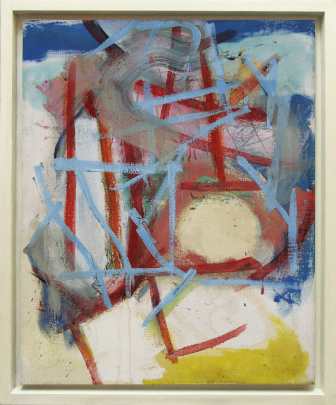 Gary Wragg Born 1946Blue Red Structure signed, dated 1985 and titled verso oil on linen 71 x 55.5 cms (28 x 22 ins) framed 79 x 63.5 cms (31 x 25 ins)