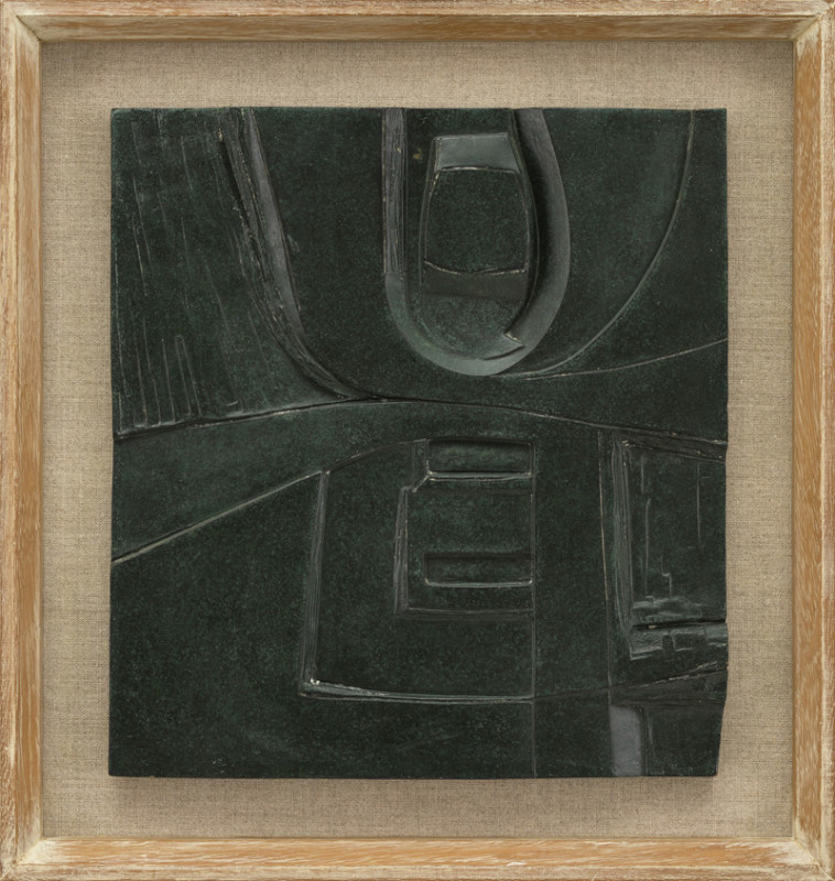 John Milne Cat 10 Delphi signed with initials and dated 1970 verso number 3 from an edition of 5 bronze relief 32 x 29 cms (12½ x 11½ ins) framed: 42 x 39 cms (16½ x 15½ ins)