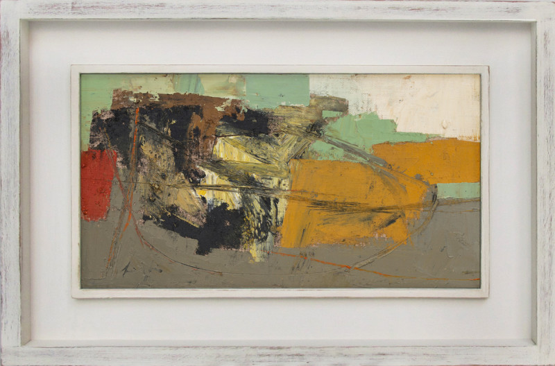 Leigh Davis Cat 8 Porth Hellick, St Mary's signed also signed, titled and dated 2020 verso oil on linen laid on panel 18 x 33 cms (7 x 13 ins) framed: 29 x 44 cms (11 x 17 ins)