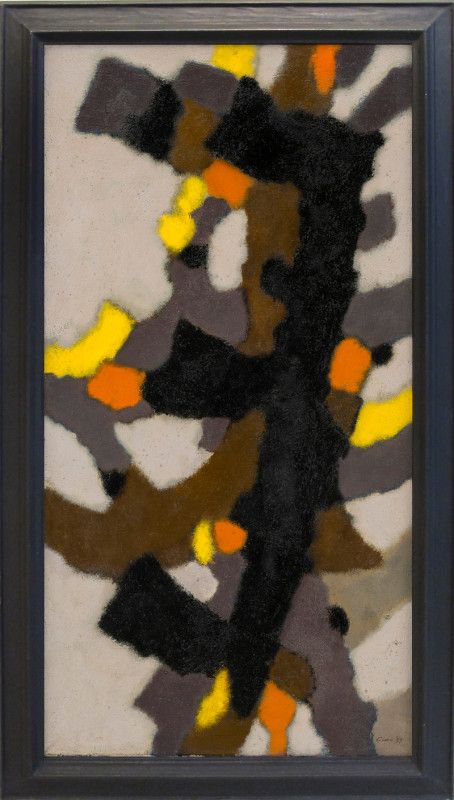 William Gear Cat 16 Vertical Motif signed and dated 1959 also signed, titled and dated Sept 1959 verso oil on canvas 91.5 x 45.5 cms (36 x 18 ins) framed: 103 x 57 cms (40½ x 22½ ins)