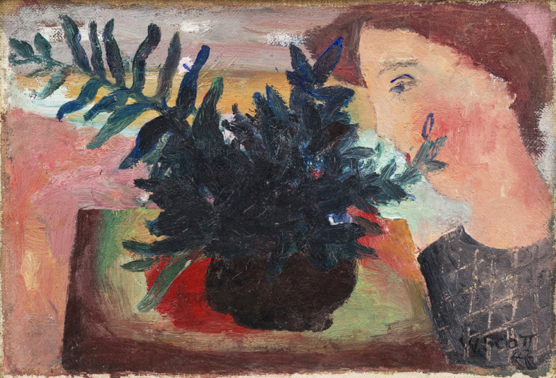 Face and Flowers  signed and dated 1942  titled label verso  oil on canvas on board  18 x 25.5 cms (7 x 10 ins)  framed: 33 x 40.5 cms (13 x 16 ins)