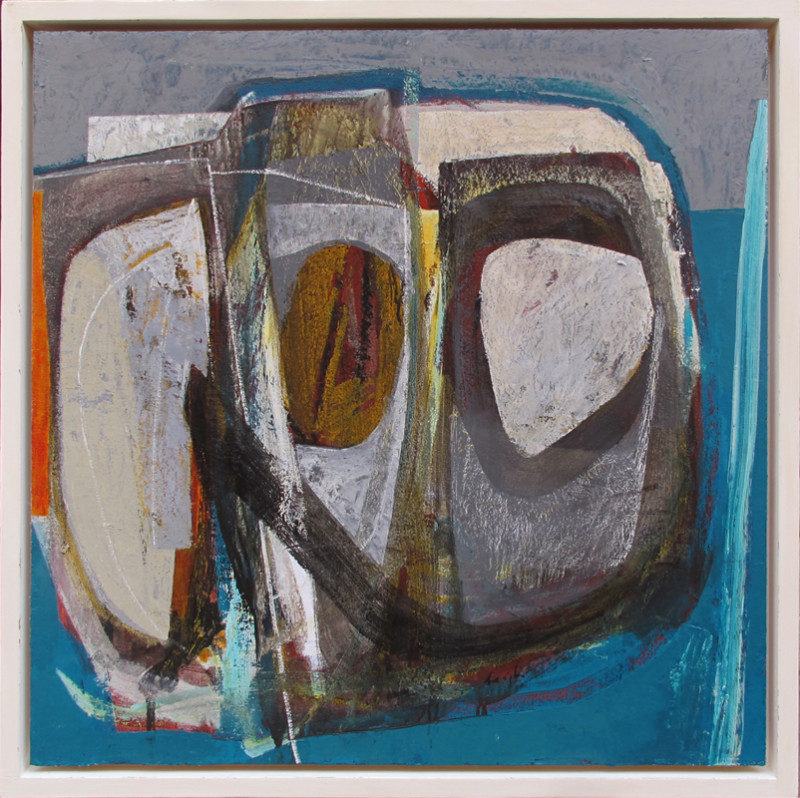 Leigh Davis Born 1976Facing the Sea, Composition No 4 signed titled and dated 2020 verso acrylic and linen laid on panel 70 x 70 cms (27½ x 27½ ins) framed: 76 x 76 cms (30 x 30 ins)