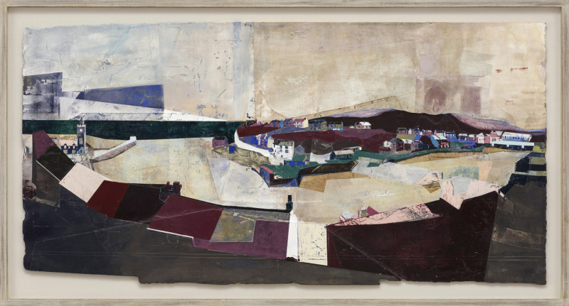 Jeremy Gardiner Cat 25 Above Porthleven, Cornwall signed and dated 2019 titled verso acrylic and jesmonite on poplar panel 80 x 160 cms (31½ x 63 ins) framed: 93 x 173 cms (36½ x 68 ins)