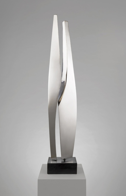 Paul Mount Vertical Forms unique created circa 1979 stainless steel on slate height: 108 cms (42½ ins)