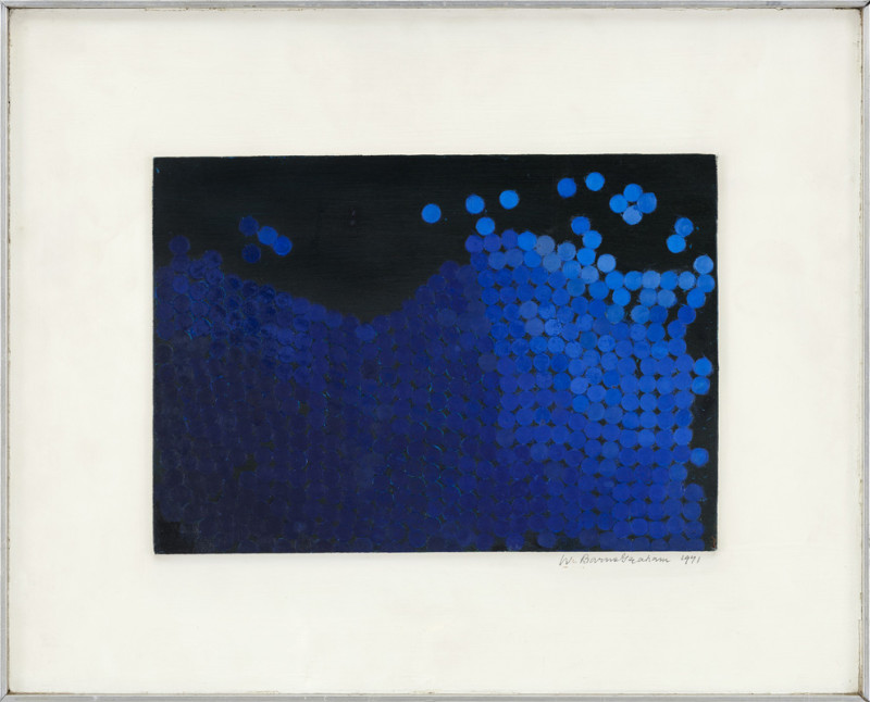 Wilhelmina Barns-Graham Cat 7 Blue Discs on Black No 3 (Wind on the Waves Series) signed and dated 1971 titled verso oil and acrylic on board 18 x 25 cms (7 x 10 ins) framed: 32 x 39 cms (12½ x 15½ ins)