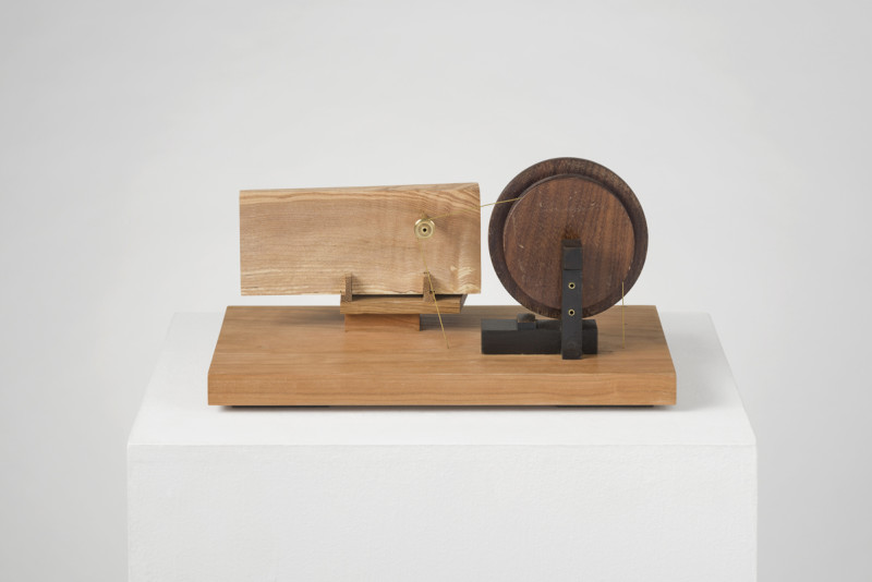 Leigh Davis Cat 28 Mine Engine signed, titled and dated 2020 on base unique ash, oak, cherry, american walnut, beech, brass 17 x 33 cms (7x 13 ins)