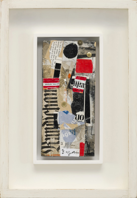 Bryan Ingham Cat 9 Auf Wiedersehen signed estate stamp verso collage and mixed media on card 20 x 9.5 cms (8 x 3¾ ins) framed: 35 x 24 cms (13½ x 9½ ins)