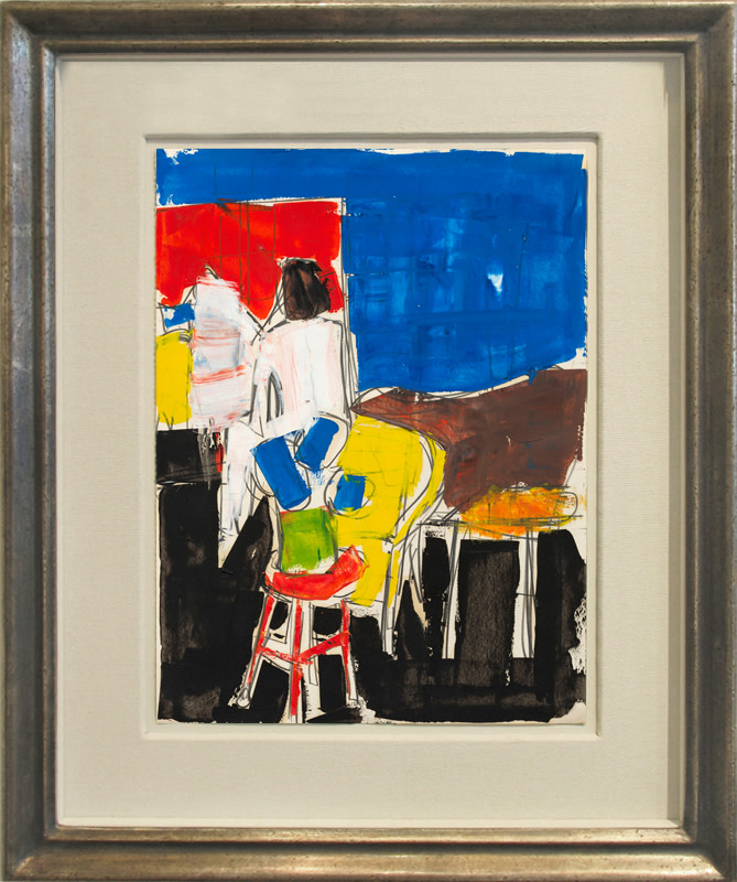 Peter Kinley Cat 18 Studio Interior painted circa 1960 oil and pencil on paper 28 x 20 cms (11 x 8 ins) framed: 42 x 34 cms (17 x 14 ins)