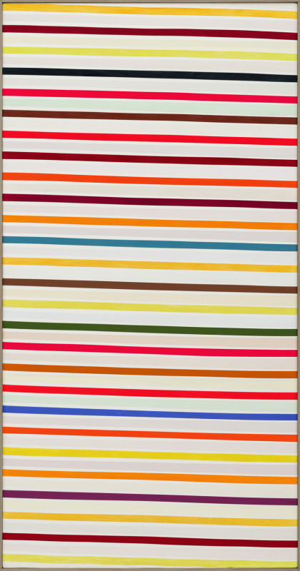 John Plumb Cat 19 Colour Ladder painted circa 1970 estate stamp verso acrylic on cotton duck 202 x 106 cms (80 x 42 ins) framed: 205 x 109 cms (81 x 43 ins)