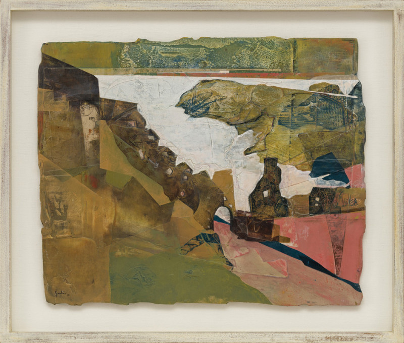 Jeremy Gardiner Cat 31 Tintagel Castle, Cornwall signed and dated 2019 titled verso acrylic and jesmonite on poplar panel 45 x 55 cms (18 x 22 ins) framed: 58 x 68 cms (23 x 27 ins)
