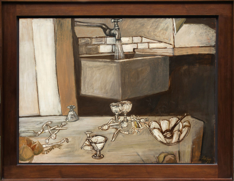Jack Smith Cat 15 Still Life with Tap signed and dated 1953 titled verso oil on board 92 x 122 cms (36 x 48 ins) framed: 112 x 142 cms (44 x 56 ins)
