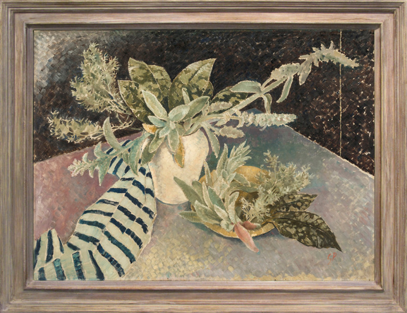Glyn Philpot Cat 12 Stachys and Leaves signed with initials titled and dated 1934-35 label verso oil on canvas 89 x 117 cms (35 x 46 ins) framed: 102 x 130 cms (40 x 51 ins)