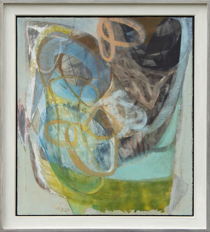 Peter Joyce Born 1964 Storm View signed with initials and dated 2019 titled verso acrylic and collage on wood panel 92 x 82 cms (36¼ x 32¼ ins) framed: 108 x 98 cms (42½ x 38½ ins)