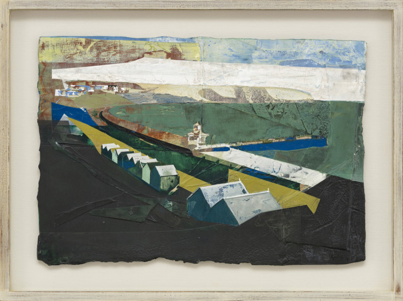 Jeremy Gardiner Cat 11 Ballard Down and Promenade, Swanage, Dorset signed and dated 2019 titled verso acrylic and jesmonite on poplar panel 41 x 59 cms (16½ x 23½ ins) framed: 54 x 72 cms (21½ x 28½ ins)