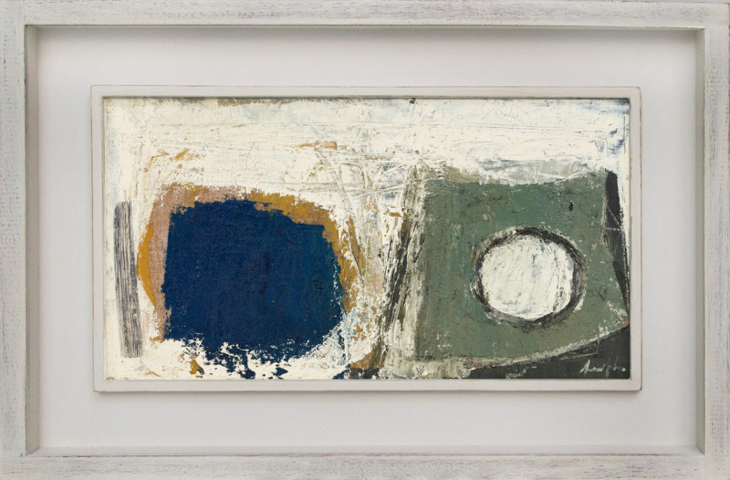 Leigh Davis Cat 17 Mên-an-Tol, Composition No 1 signed also signed, titled and dated 2020 verso oil on linen laid on panel 18 x 33 cms (7 x 13 ins) framed: 29 x 44 cms (11 x 17 ins)