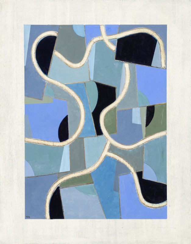 Tim Woolcock Blue Fluency signed with artist's initials and dated 2016 titled verso oil on panel 76 x 60 cms (30 x 23.5 ins) framed: 86.5 x 70 cms (34 x 27.5 ins)