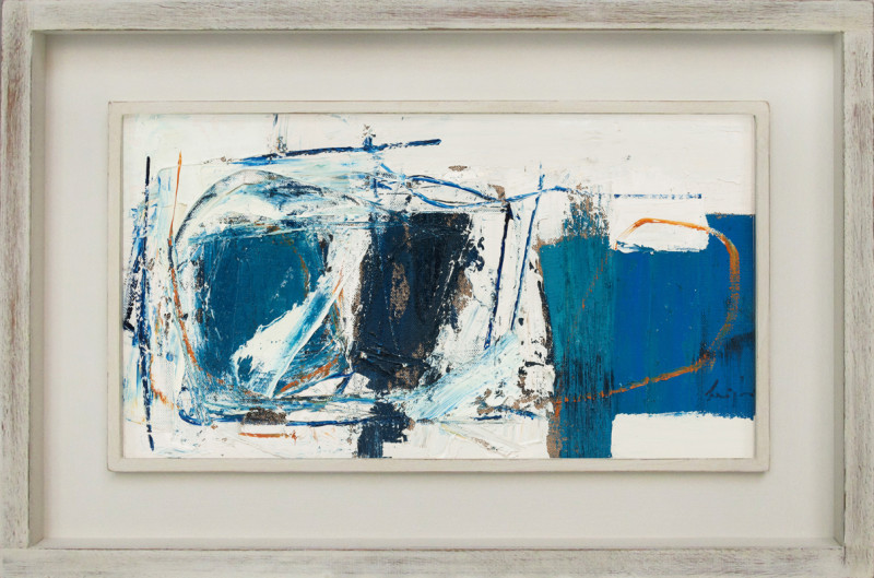 Leigh Davis Cat 14 Rough Tide, St Martin's signed also signed, titled and dated 2020 verso oil on linen laid on panel 18 x 33 cms (7 x 13 ins) framed: 29 x 44 cms (11 x 17 ins)