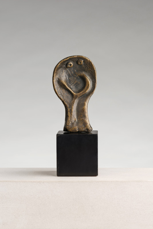 Henry Moore Snake Head conceived in 1961 from an edition of 6 bronze on ebonised base 14.6 cms (H) (5.75 ins)