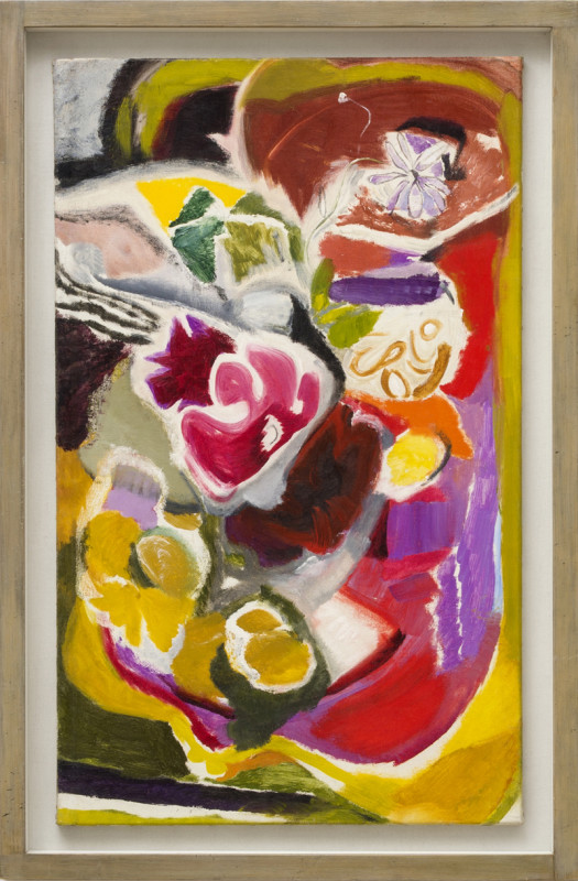 Ivon Hitchens Cat 14 Flowers on a Pink Card Table titled verso painted circa 1945 with studio stamp oil on canvas 92 x 56 cms (36 x 22 ins) framed: 104 x 68 cms (41 x 27 ins)