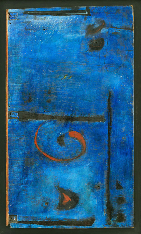 Martin Bradley Blue Composition signed and dated 1963 titled verso oil on wood (old door) 85 x 49.5 cms (33½ x 19½ ins) framed: 96.5 x 61 cms (38 x 24 ins)