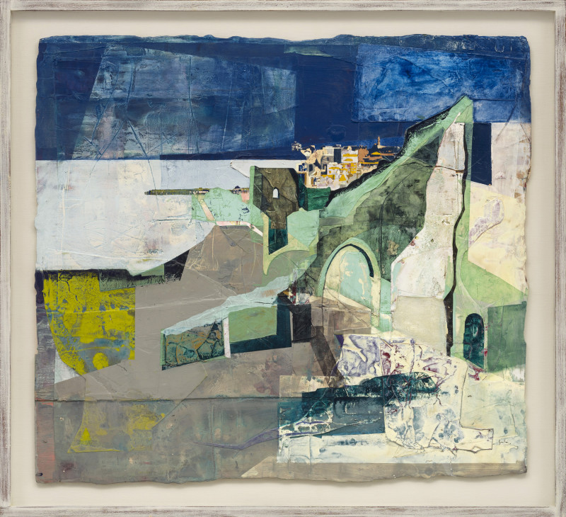 Jeremy Gardiner Cat 7 Hastings Castle and Pier, Sussex signed and dated 2019 titled verso acrylic and jesmonite on poplar panel 90 x 100 cms (35½ x 39½ ins) framed: 103 x 113 cms (40½ x 44½ ins)