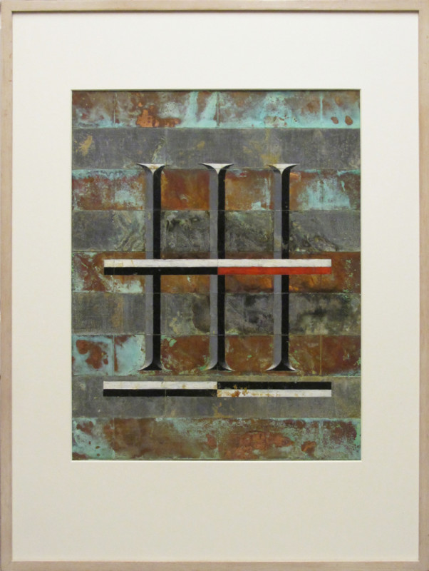 Keith Milow Born 1945Drawing 89/7//77/D signed and dated 1989 oil on lead and copper 46 x 36 cms (18 x 14 ins) framed: 70 x 52 cms (27½ x 20½ ins)
