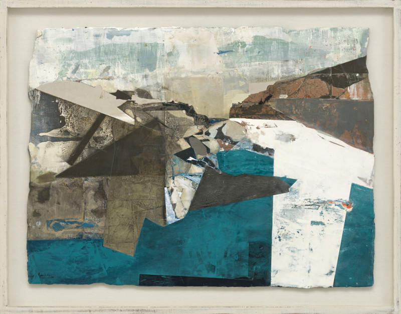 Cat 1 Tourmaline Tide, Tintagel, Cornwall signed and dated 2018 titled verso acrylic and jesmonite on poplar panel 60 x 80 cms (23½ x 31½ ins) framed: 72 x 93 cms (28.5 x 36.5 ins)