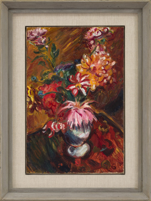 Matthew Smith Cat 11 Dahlias signed with initials titled and dated 1928 on stretcher oil on canvas 61 x 40 cms (24 x 16 ins) framed: 83 x 62 cms (32½ x 24½ ins)