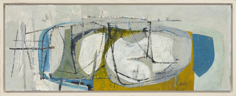 Leigh Davis Cat 26 South of Peraskin, St Agnes signed also signed, titled and dated 2020 verso acrylic on linen laid on panel 47 x 123 cms (18½ x 48½ ins) framed: 52 x 128 cms (20½ x 50½ ins)