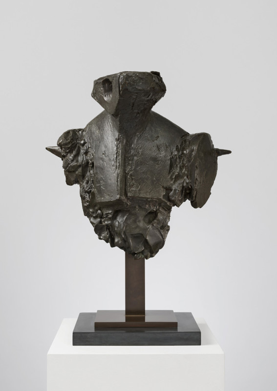Bernard Meadows Cat 17 Armed Bust 1 titled label on base from an edition of 6 conceived in 1961 bronze on slate base 48 x 38 cms (19 x 15 ins)
