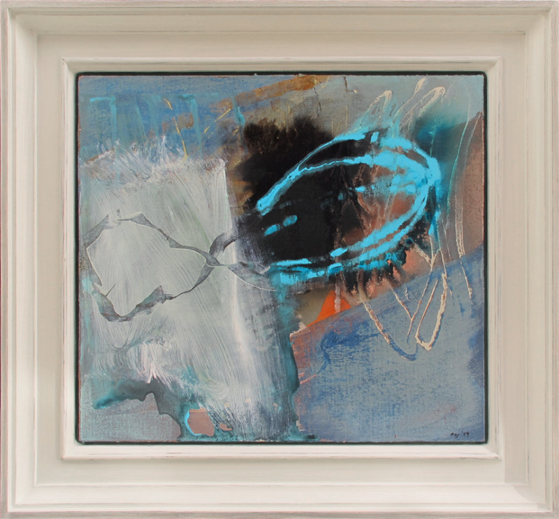 Peter Joyce Born 1964 Seascape signed with initials and dated 2019 titled verso acrylic on canvas laid to panel 46 x 51 cms (18 x 20 ins) framed: 62.5 x 67.5 cms (24 ½ x 26 ½ ins)
