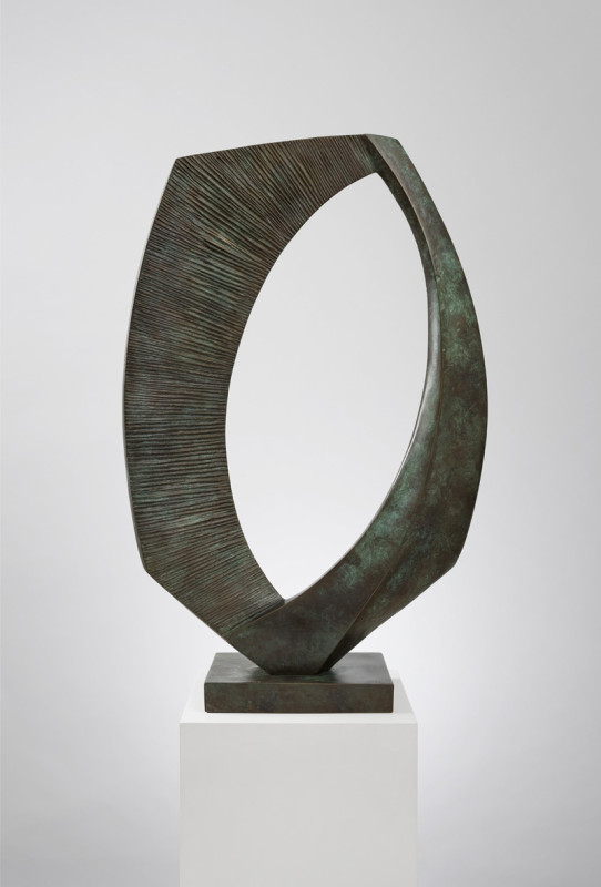 Robert Fogell Cat 22 Ellipse stamped with signature number 2 from an edition of 3 cast in 2020 bronze on bronze base 77 x 50 cms (30 x 20 ins)