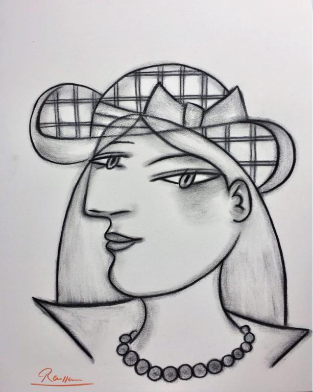 Erik Renssen, Size S | Woman in a checkered hat, 2018