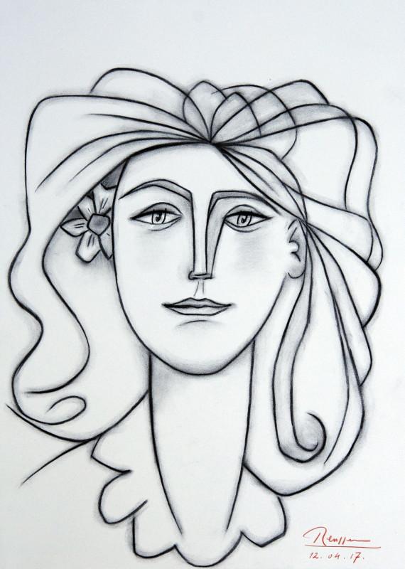 Erik Renssen, Size M | Woman with flower behind her ear, 2017