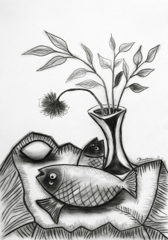 Erik Renssen, Two fish, a lemon and flower in a vase, 2016