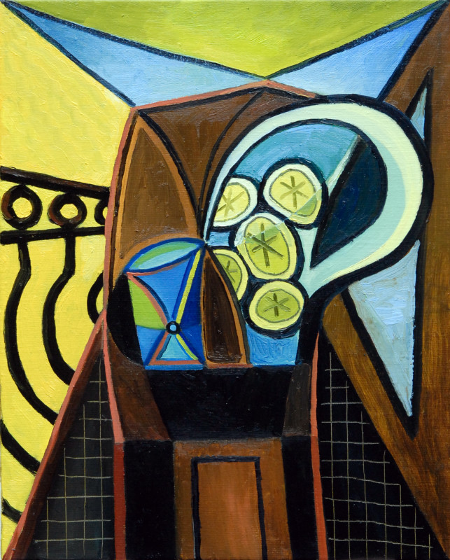 Erik Renssen, S / Water pitcher and glass in front of a balcony, 2009