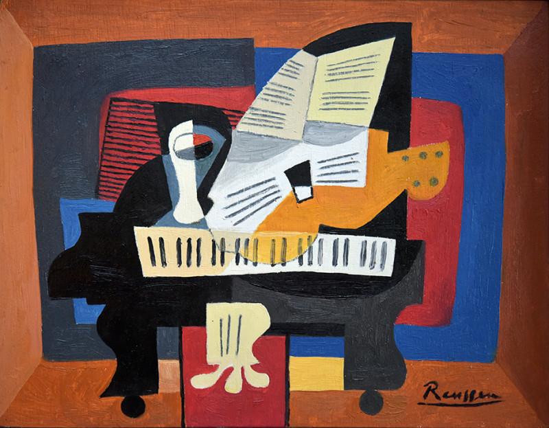 Erik Renssen, Glass, guitar and sheet music on a piano, 2021