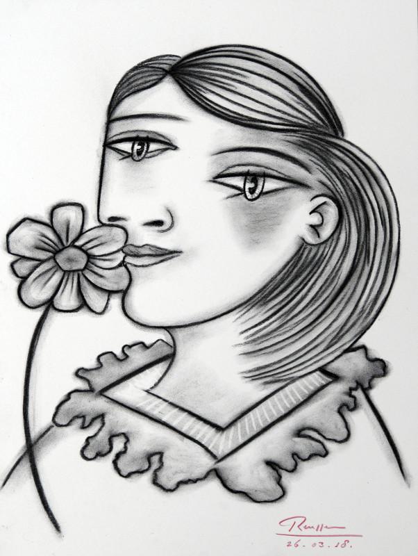 Erik Renssen, Woman with flower, 2018