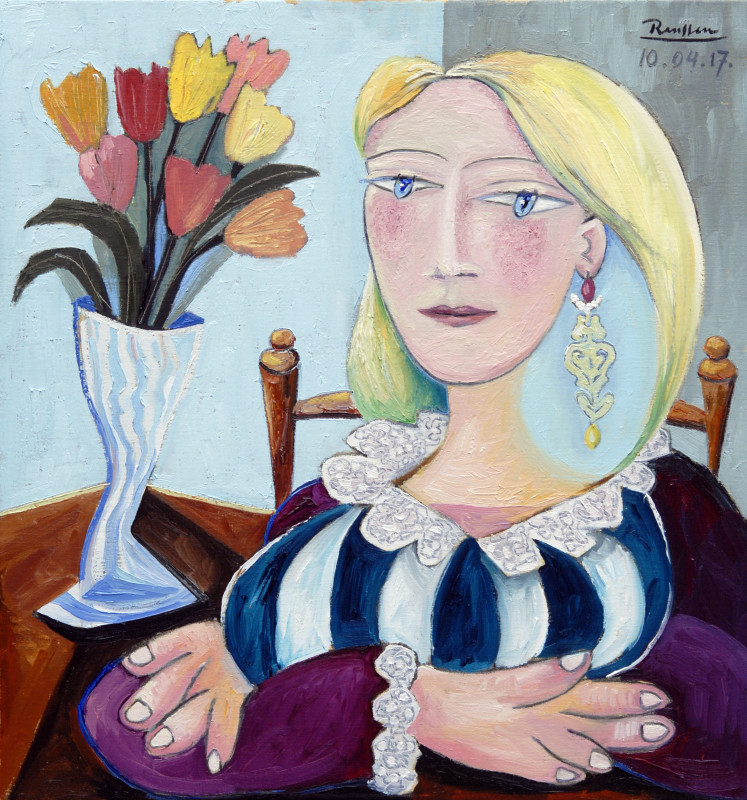 Erik Renssen, Woman with tulips, 2017