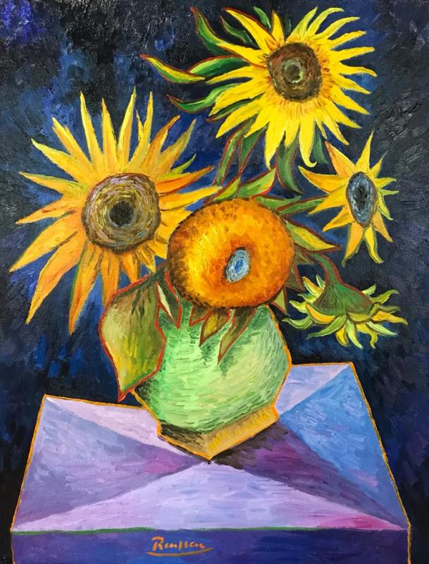 Erik Renssen, M | Sunflowers in a green vase , 2021